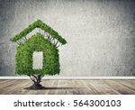 house shaped green tree as real ... | Shutterstock . vector #564300103