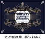 whiskey label with old frame | Shutterstock .eps vector #564315313