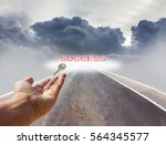 hand and key with text success... | Shutterstock . vector #564345577