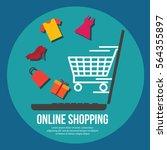 online shopping illustration | Shutterstock .eps vector #564355897