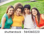 group of happy teenagers in the ... | Shutterstock . vector #564360223
