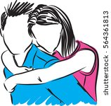 man and woman couple hugging...   Shutterstock .eps vector #564361813