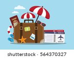 composition with a suitcase and ... | Shutterstock .eps vector #564370327