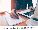 businessman making notes on the ...   Shutterstock . vector #564371323