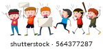 people yelling and marching at... | Shutterstock .eps vector #564377287