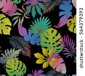 summer exotic floral tropical... | Shutterstock .eps vector #564379393