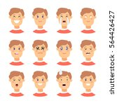 set of male emoji characters.... | Shutterstock .eps vector #564426427
