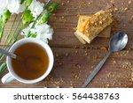 cup of green tea flower cookies ... | Shutterstock . vector #564438763