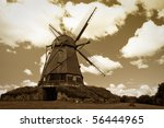 old style photo of windmill
