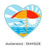 vector beach umbrella  sea ... | Shutterstock .eps vector #56445628