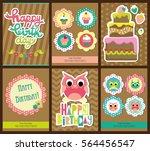 set of six happy birthday card... | Shutterstock .eps vector #564456547