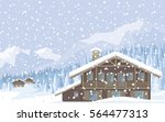 The Image Of A Chalet In Snowy...