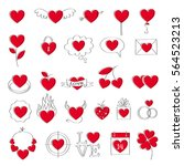 valentine's day hearts icons... | Shutterstock .eps vector #564523213