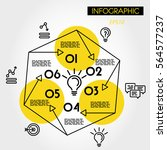 yellow linear infographic... | Shutterstock .eps vector #564577237