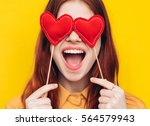 the woman opened her mouth in... | Shutterstock . vector #564579943