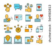 social media and network icons... | Shutterstock .eps vector #564583813