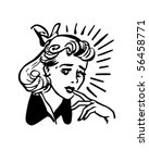 worried woman   retro clip art | Shutterstock .eps vector #56458771