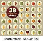vegetables flat icons set.... | Shutterstock .eps vector #564604723