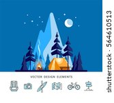 summer camp. night landscape... | Shutterstock .eps vector #564610513