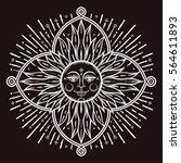 intricate hand drawn ornate sun ... | Shutterstock .eps vector #564611893
