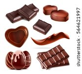 set of chopped chocolate bar ... | Shutterstock .eps vector #564621997