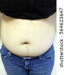 Small photo of women abdomen on white background