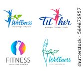 fitness and wellness vector... | Shutterstock .eps vector #564673957