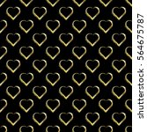 seamless pattern of gold hearts ... | Shutterstock .eps vector #564675787