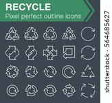 set of thin line recycle icons...
