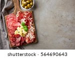wooden cutting board with... | Shutterstock . vector #564690643
