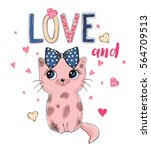 cute cat and | Shutterstock .eps vector #564709513