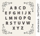 embroidered font alphabet... | Shutterstock .eps vector #564751477
