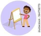 isometric easel. young african... | Shutterstock .eps vector #564758773