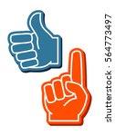 colorful foam fingers vector... | Shutterstock .eps vector #564773497