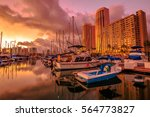 landscape of sailing boats and... | Shutterstock . vector #564773827