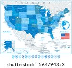usa road map in colors of blue... | Shutterstock .eps vector #564794353