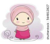 a cute muslim girl cartoon... | Shutterstock .eps vector #564812827