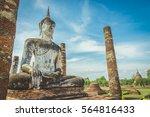 buddha image in sukhothai... | Shutterstock . vector #564816433
