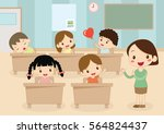 students and teacher in... | Shutterstock .eps vector #564824437