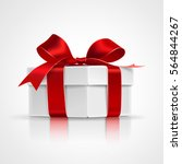 gift box with red bows isolated ... | Shutterstock .eps vector #564844267