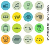 set of 16 shipping icons.... | Shutterstock .eps vector #564873007