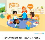 laughing redhead teacher asks... | Shutterstock . vector #564877057
