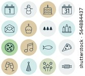 set of 16 celebration icons.... | Shutterstock . vector #564884437