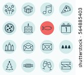 set of 16 christmas icons.... | Shutterstock . vector #564885403