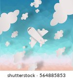 airplane aerial view paper art... | Shutterstock .eps vector #564885853