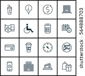 set of 16 transportation icons. ... | Shutterstock . vector #564888703