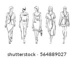 sketch. fashion girls on a... | Shutterstock .eps vector #564889027