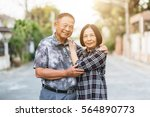 happy senior asian couple... | Shutterstock . vector #564890773
