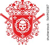 gothic coat of arms with skull  ... | Shutterstock .eps vector #564902587