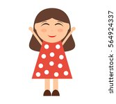 happy cartoon girl. | Shutterstock .eps vector #564924337